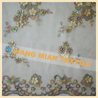 machine embroidery designs with multi-color lace fabric and applique tulle fabric
