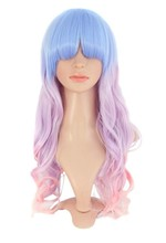 YILU Harajuku Style Mixed Light Blue/ Pink Long Natural Curly Cosplay Wig