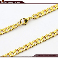 24K Gold Jewelry plated Chain Men's Stainless Steel Flat Chain Necklace