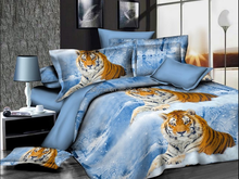 3d snow tiger printed blue bedsheet 4pcs soft thick 100 cotton patchwork quilt bedspread