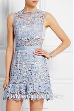 2015 vestido floral Ropa de verano Moda de encaje sin mangas vestido de la señora atractiva