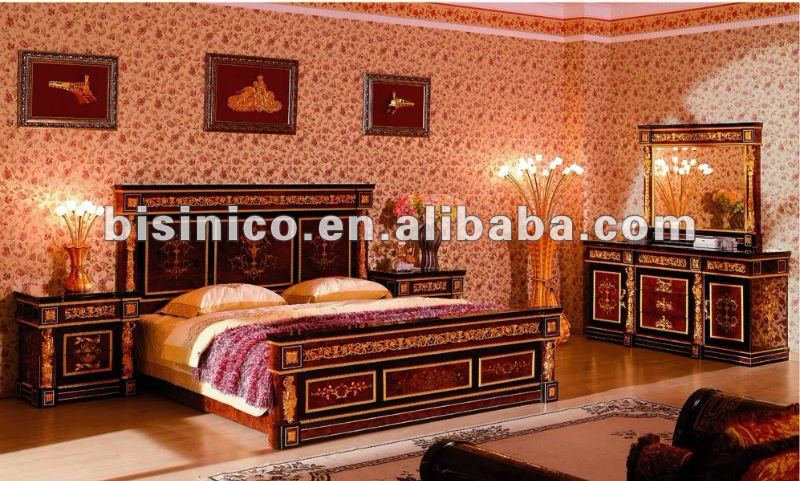 luxury king size classsical antique wooden home bedroom furniture set
