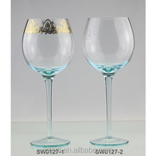 Soft sky blue colored wine glass with decal