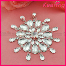new arrival large crystal small flower stone center iron on rhinestone applique wholesale for dress WRP-009