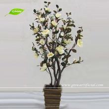 BLS034 GNW Artificial Silk Magnolia Flower Tree Pot for garden decoration