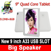 """New 9 Inch Tablet HD Capacitive Screen Quad Core 512MB 8GB WIFI Bluetooth 4.0 Big Speaker Android 4.4 9"""" Tablet PC"""