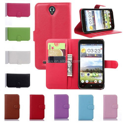 Luxury PU Leather Flip Cover with Card Holder Wallet Stand Case for Lenovo A850