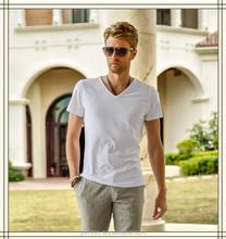 Free sample 100% cotton V-neck cheap plain white t-shirts