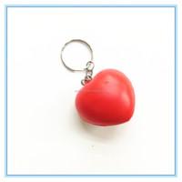 Promotional custom printed cheap red i love you heart shape ball keyring