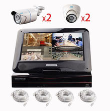 """POE 4CH cloud 10.1"""" lcd monitor t 4ch nvr kit with 4pcs poe best ip camera p2p onvif"""