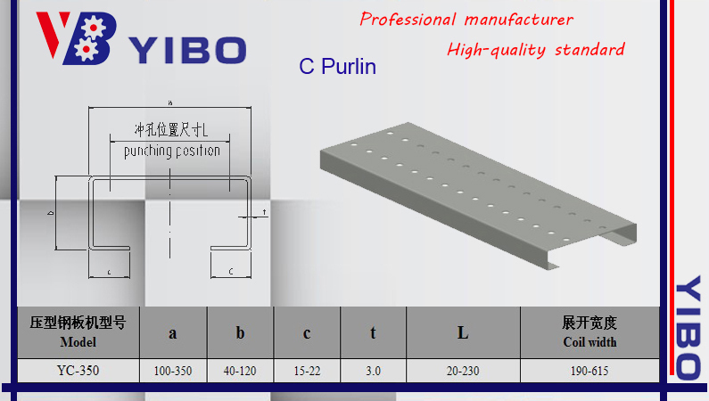 Metal Sheet Automatic C profile purlin making machine