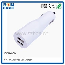 5V 3A in car mobile charger rubber painted 2 USB output