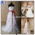 jj3683 faja roja volante de organza ranura frontal vestido de novia con cola larga