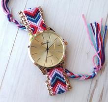 Ladies Geneva Woven Bracelet Braided Friendship Watch