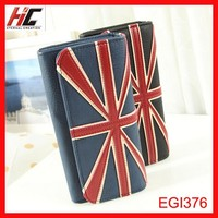 2015 Classic fashion British style women wallet with magnetic button closure Union Jack long arrival