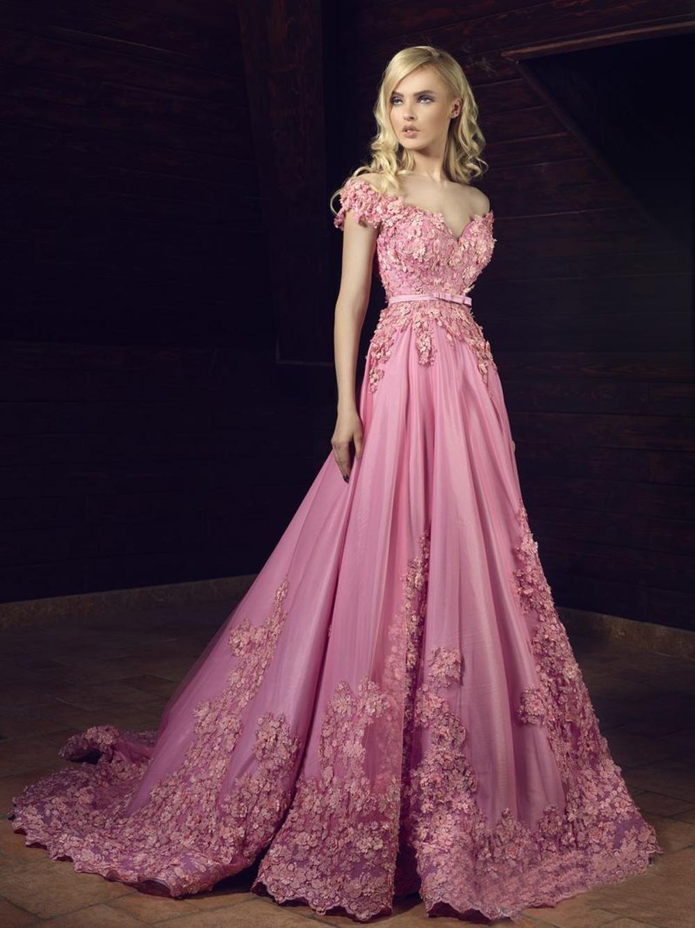 Árabe vestido de noche 2017 fuera del hombro encaje Appliques V ...