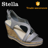 pu leather high heel halved belt cute wedge sandals