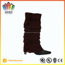 FT FASHION Winter Plain Ruffle Knitted Leg Warmers,Boot Socks,Leg Protection
