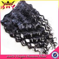 wholesale virgin human brazilian clip in hair extensions for black women