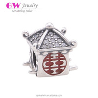 925 Sterling Silver Charms Chinese Wedding Jewelry Beads Bridal Sedan Chair Custom Made Metal Logo Happiness Charms D071