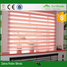 Hotel blackout curtain/Manual day and night double layer zebra blinds stripe colorful roller blind blackout
