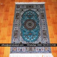 Green arabic handmade silk country style rugs