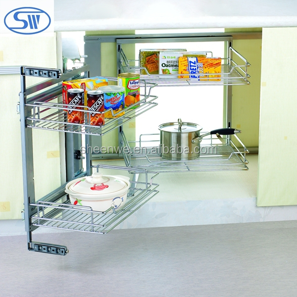 Sjj-a Guangzhou Wall Mounted Steel Shelf Kitchen Cabinet Pull-out ...