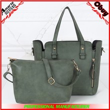 China export female 2015 leisure frosted leather shoulder bag 2 pcs in 1 set bags
