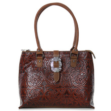 Women's Floral Tooled Leather Handbag with Decorative Buckle