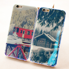 Hot Sale Blue Light Rigid Case Snow Image Pattern Case Cover For iPhone 6 Plus Dot view case for iPhone 6