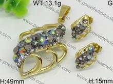 Modern design jewelry sets crystal football ball jewelry brazilian golden grass