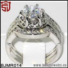 Heirloom Antique CZ Latest Wedding Ring Design 3 PC. Set
