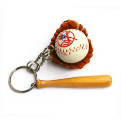 Sublimation printing color Logo baseball keychain, Mini soft 3d sports gym soccer team club tennis ball key chain ring keyring