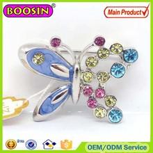 China rhinestone butterfly wholesale brooch/shiny crystal brooch/butterfly brooch pin for wedding invitation #5542
