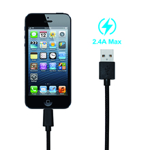 Hot Selling for apple Max 2.4a fast charging nylon usb charger cable with 8 pin connector for iphone 6s