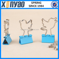 Hight quality Promotional gifts customer design office stationery file folder wire animals birds shape metal sheet binder clip