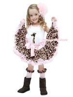 Zoo Wild Animal White Top Pink Giraffe Head Skirt Girls Cloth Outfit Set 1-8Year