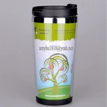 Double wall transparent starbucks plastic cup tumbler with advertising paper changeable 450ml