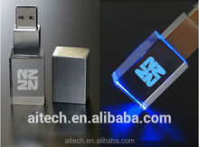 Wholesale custom 3D crystal usb memory sticks, Bulk 3D Laser Engraving Crystal USB sticks 8GB with company logo, Led light usb