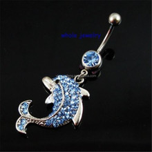 The Dolphins Lt.Blue Color Belly Dangle Button Ring