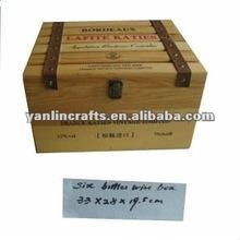 Cajas de madera pino para vino con 6 botellas