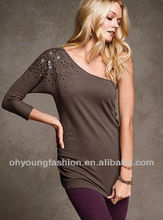 2012 Fashion One-Shoulder Sexy Women Beaded Cotton/Modal T Shirts