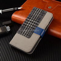 Latest Design Top Sell PU Leather Case For iPhone 6 Phone Case With Tweed Fabric & PU for iPhone 6 Mobile Wallet Case