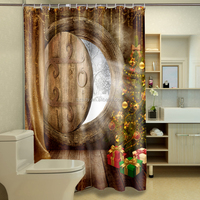 Hottest new fashion 3D digital design Christmas gift for shower curtain