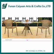 European style brown synthetic rattan round coffee table and chairs,leisure garden tea table set