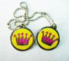 engraved crown yellow color round shape metal dog tags