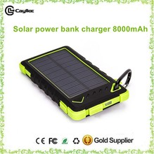 waterproof solar power banks,solar power chargers 8000mah for mobilephone