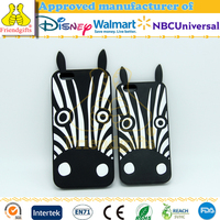 NBCU audit factory 3D black animal zebra silicone phone case/cover for iphone