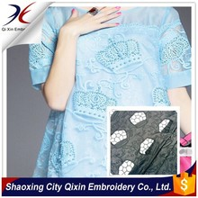 FANCY CROWN DESIGN EMBROIDERY LACE FABRIC AND LEATHER LASER CUT EMBRODIERY DESIGN FOR DRESS