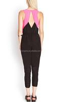 2015 Summer Fashion Black/Pink Stitching Design Chiffon Jumpsuit HSJ3086
